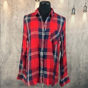 EUC Red & Navy Long sleeve Plaid Button Down Shirt